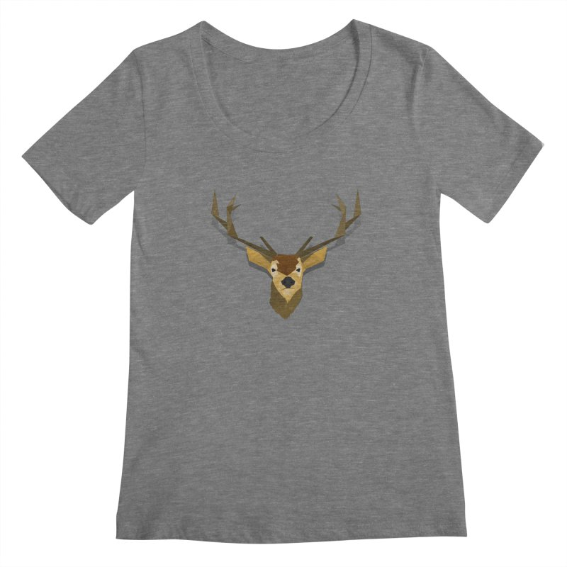 Low Poly Deer Women's Scoopneck by SOE