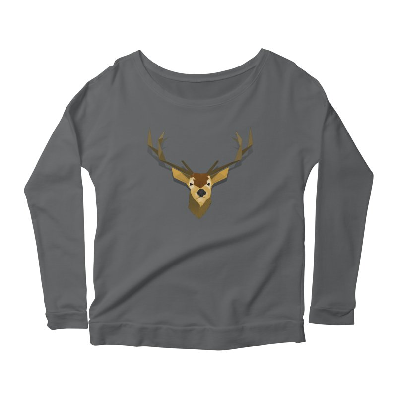 Low Poly Deer Women's Scoop Neck Longsleeve T-Shirt by SOE