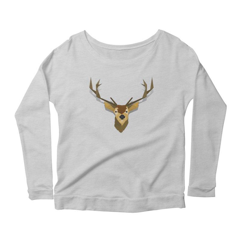 Low Poly Deer Women's Scoop Neck Longsleeve T-Shirt by SOE