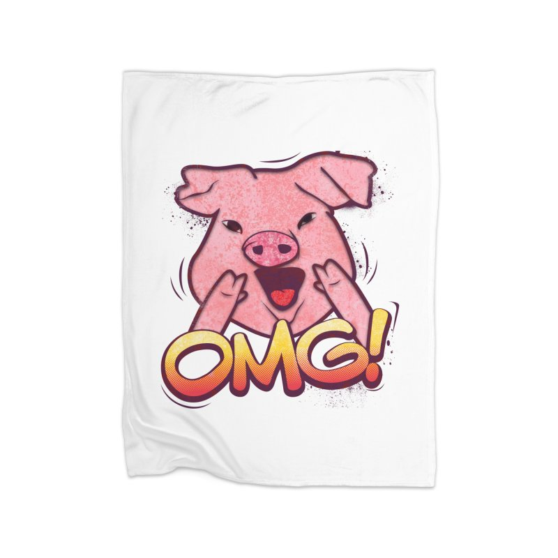 oh my god pig Home Fleece Blanket by SOE