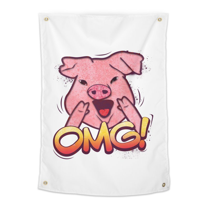 oh my god pig Home Tapestry by SOE