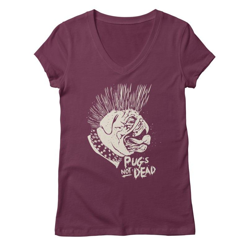 pug's not dead Women's Regular V-Neck by SOE