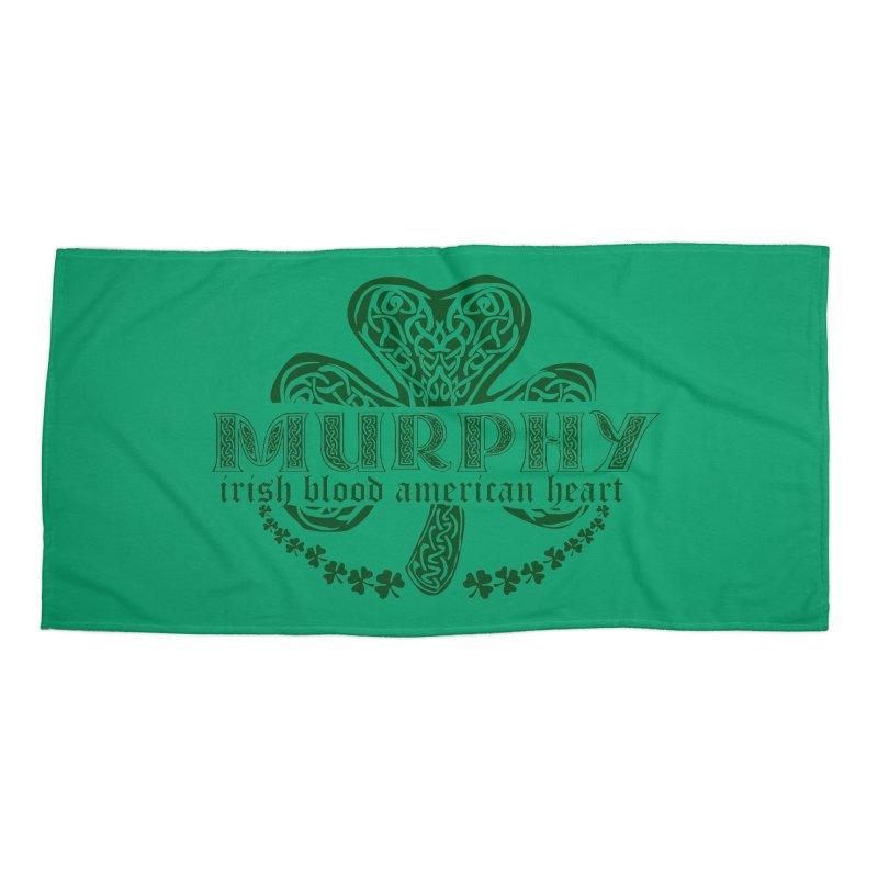 murphy irish proud american heart Accessories Beach Towel by SOE