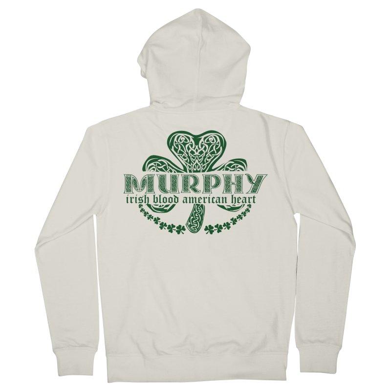 murphy irish proud american heart Men's French Terry Zip-Up Hoody by SOE