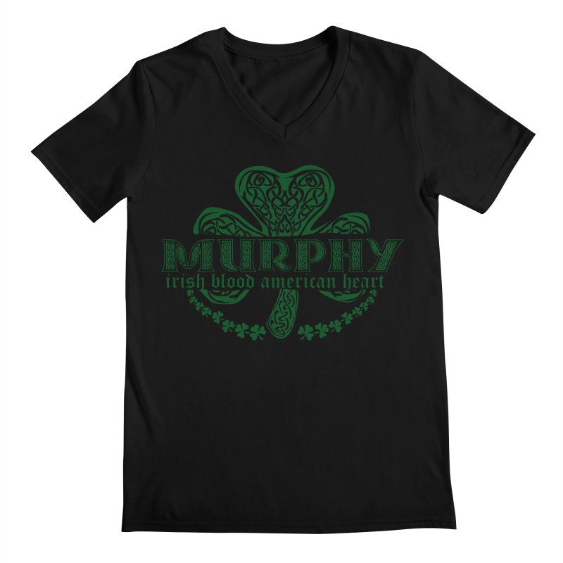 murphy irish proud american heart Men's Regular V-Neck by SOE