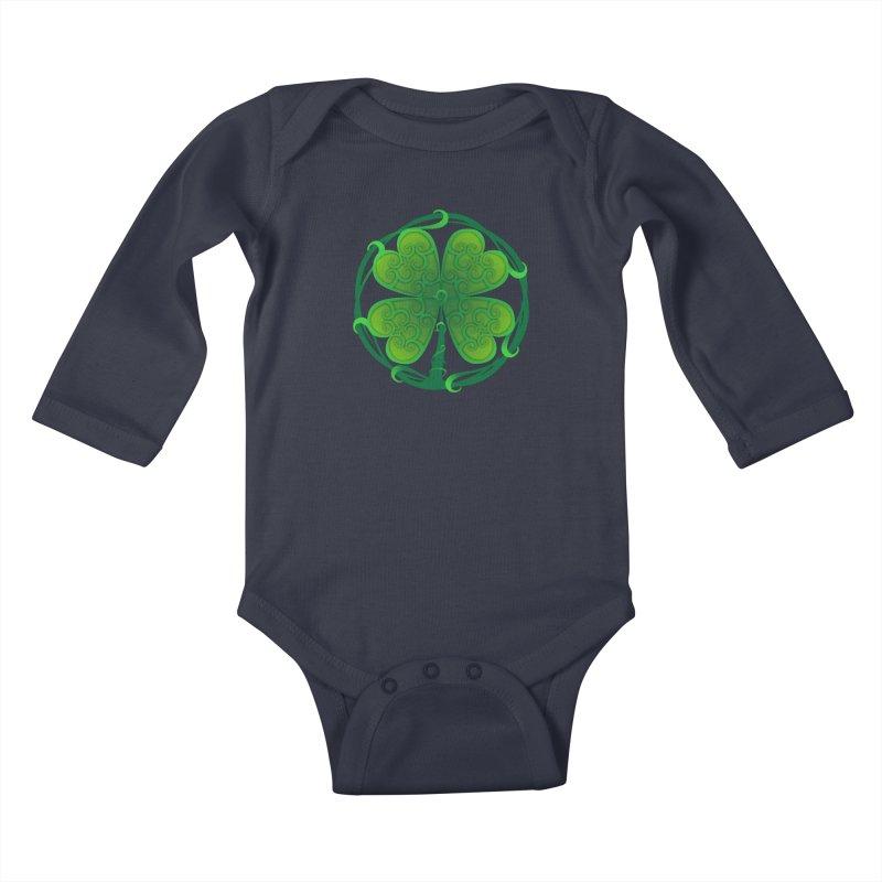 shamrock leaf Kids Baby Longsleeve Bodysuit by SOE