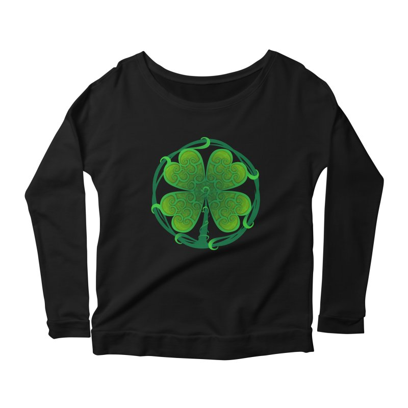 shamrock leaf Women's Scoop Neck Longsleeve T-Shirt by SOE