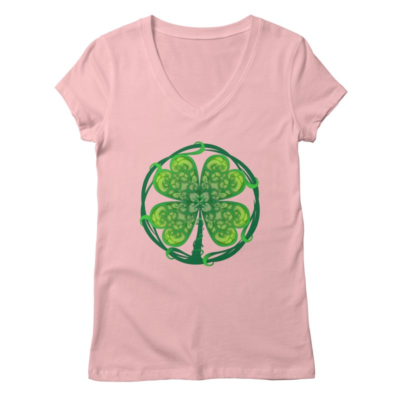 shamrock leaf Women's Regular V-Neck by SOE