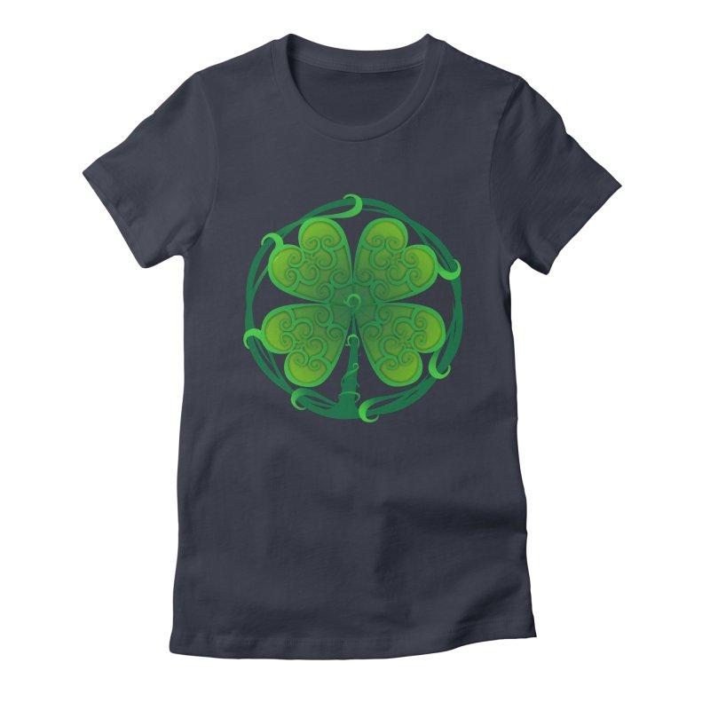 shamrock leaf Women's Fitted T-Shirt by SOE