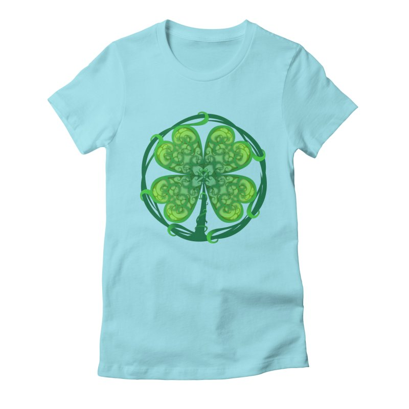 shamrock leaf Women's Fitted T-Shirt by SOE