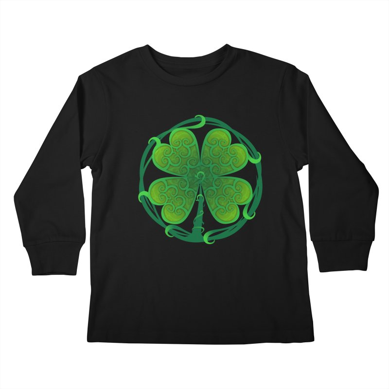 shamrock leaf Kids Longsleeve T-Shirt by SOE
