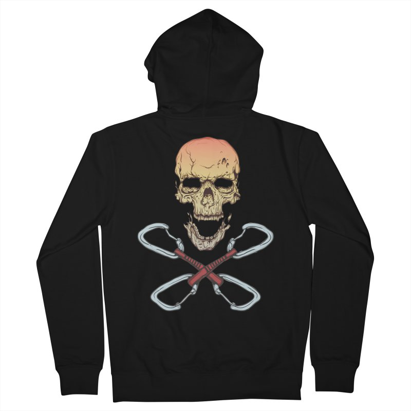 rock climber skull Men's Zip-Up Hoody by SOE