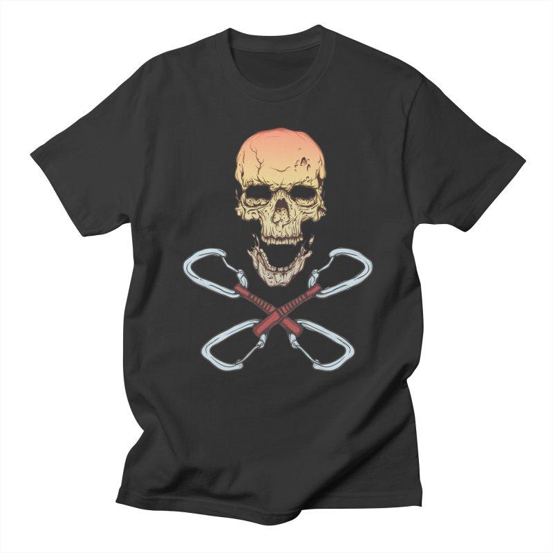 rock climber skull Men's Regular T-Shirt by SOE