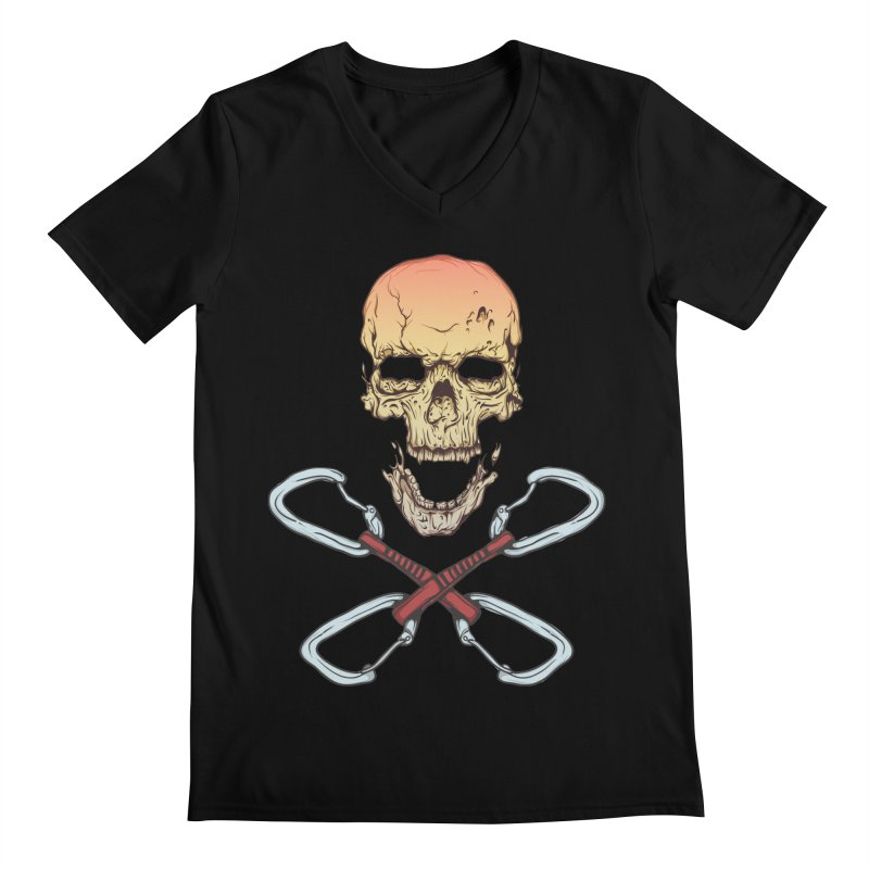 rock climber skull Men's V-Neck by SOE