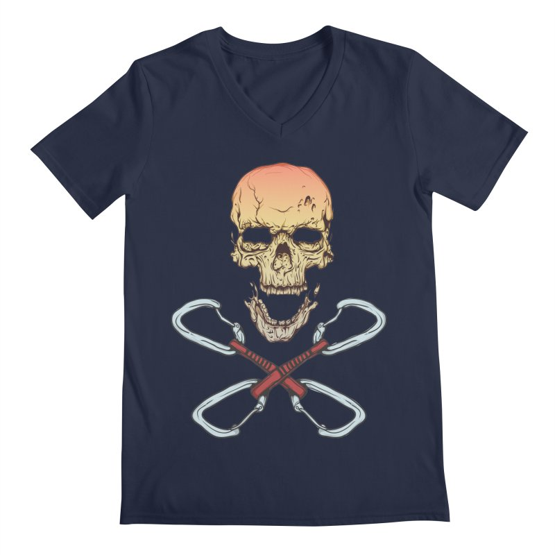 rock climber skull Men's Regular V-Neck by SOE