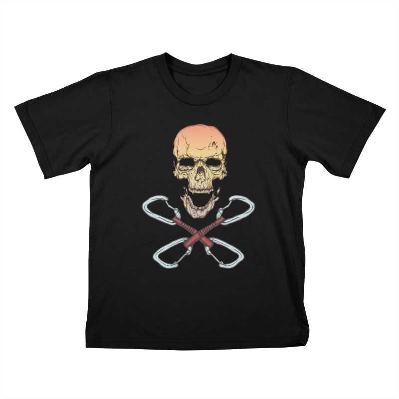 rock climber skull Kids T-Shirt by SOE