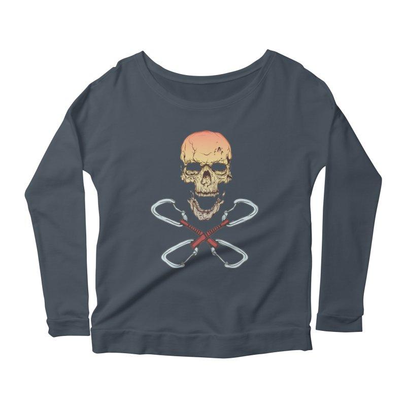 rock climber skull Women's Scoop Neck Longsleeve T-Shirt by SOE