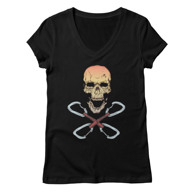 rock climber skull Women's Regular V-Neck by SOE