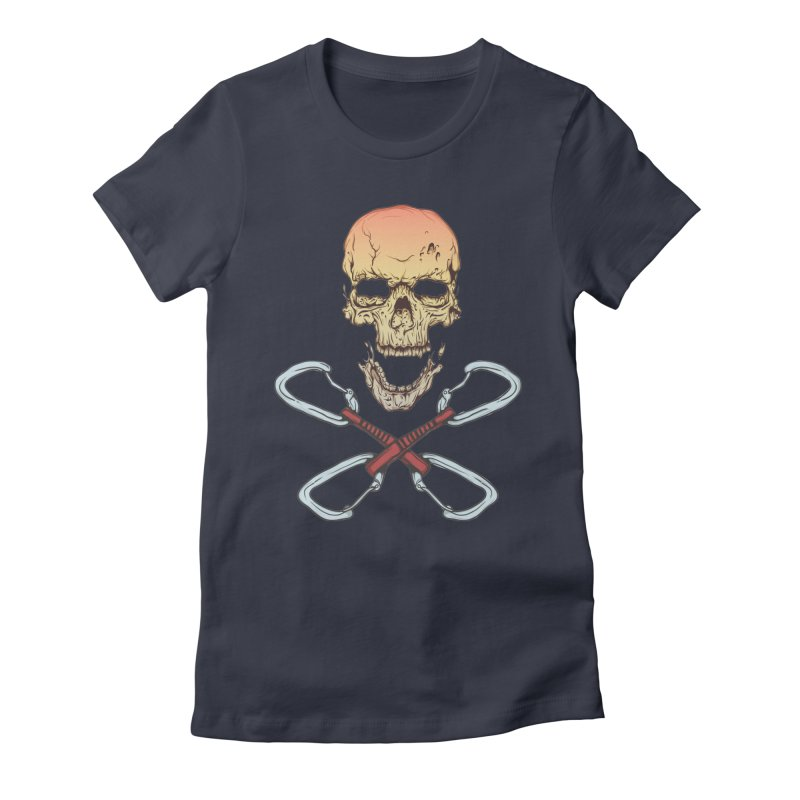 rock climber skull Women's Fitted T-Shirt by SOE