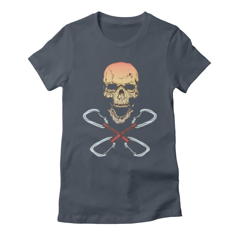 rock climber skull Women's Fitted T-Shirt by SOE