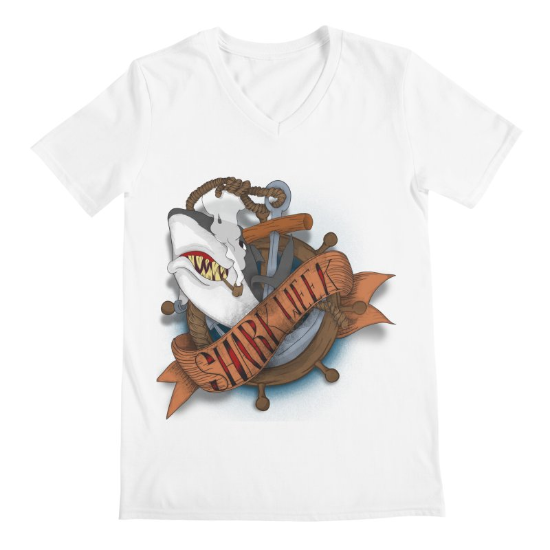 shark week oldskool Men's V-Neck by SOE