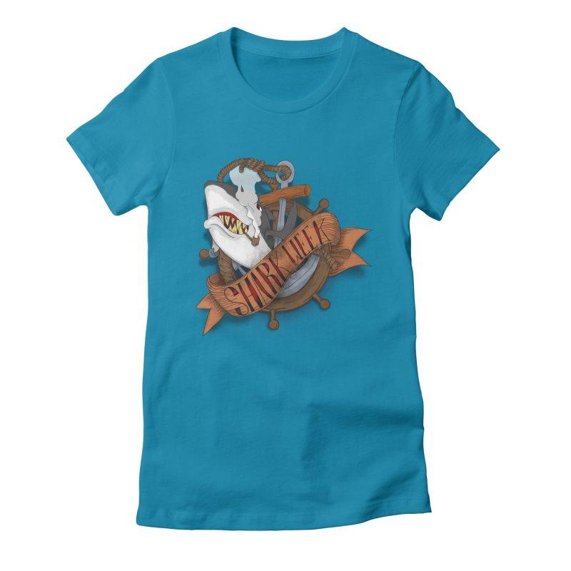 shark week oldskool Women's Fitted T-Shirt by SOE