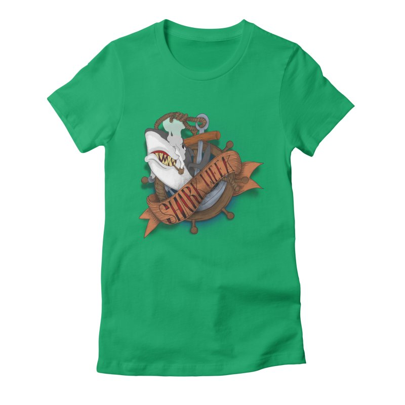 shark week oldskool Women's Fitted T-Shirt by SOE