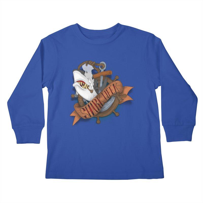 shark week oldskool Kids Longsleeve T-Shirt by SOE