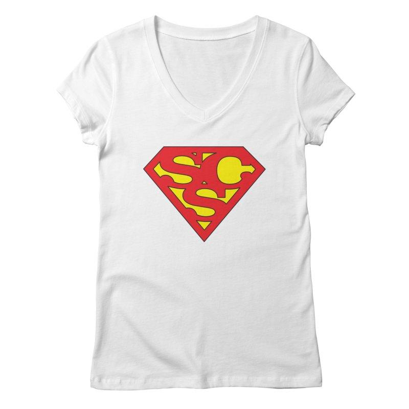 """Super Sweetheart"" Logo Women's Regular V-Neck by Sofa City Sweetheart Discount Superstore"