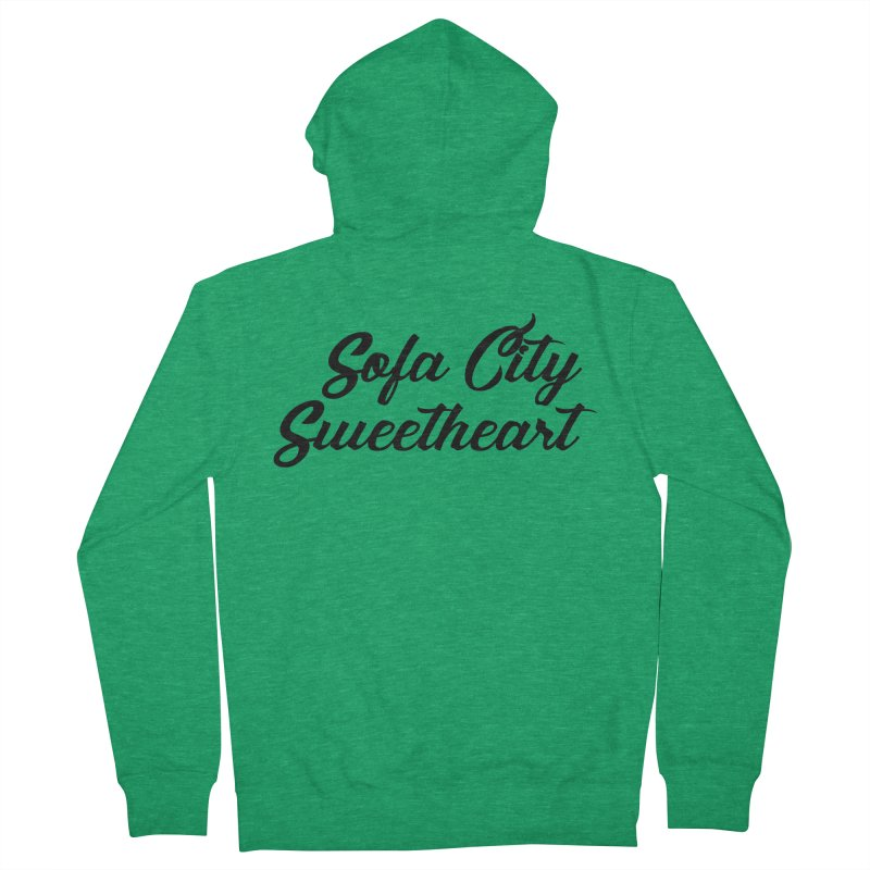 """Sofa City """"Summer Camp"""" (Black Font) Women's French Terry Zip-Up Hoody by Sofa City Sweetheart Discount Superstore"""