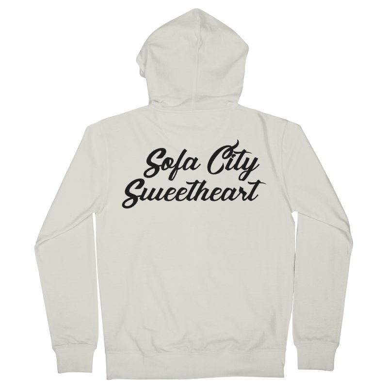 "Sofa City ""Summer Camp"" (Black Font) Women's French Terry Zip-Up Hoody by Sofa City Sweetheart Discount Superstore"