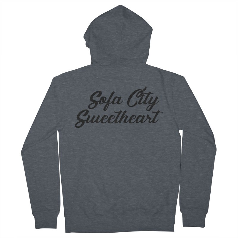 """Sofa City """"Summer Camp"""" (Black Font) Men's French Terry Zip-Up Hoody by Sofa City Sweetheart Discount Superstore"""