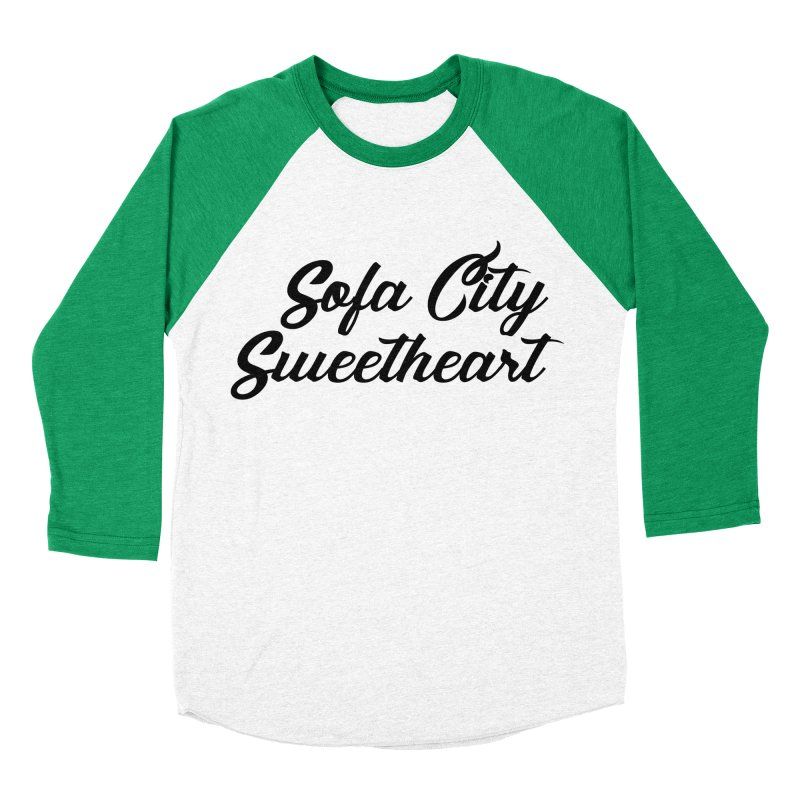 "Sofa City ""Summer Camp"" (Black Font) in Women's Baseball Triblend Longsleeve T-Shirt Tri-Kelly Sleeves by Sofa City Sweetheart Discount Superstore"