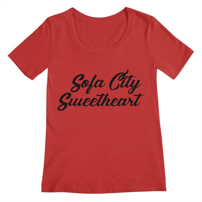 "Sofa City ""Summer Camp"" (Black Font) Women's Regular Scoop Neck by Sofa City Sweetheart Discount Superstore"