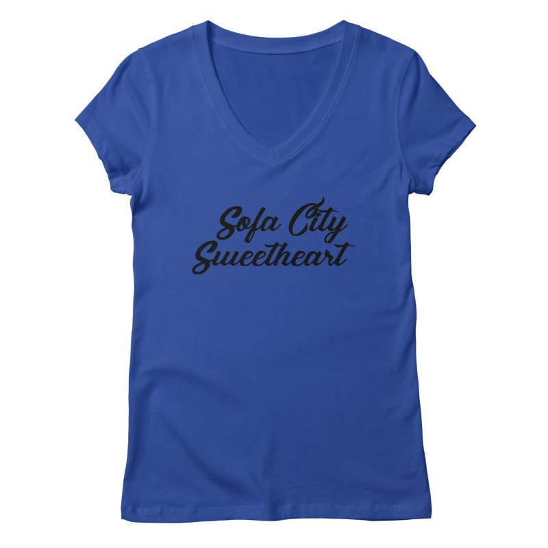 """Sofa City """"Summer Camp"""" (Black Font) Women's V-Neck by Sofa City Sweetheart Discount Superstore"""