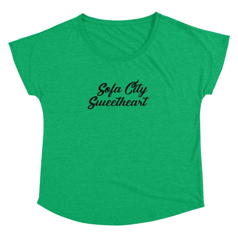 """Sofa City """"Summer Camp"""" (Black Font) Women's Dolman Scoop Neck by Sofa City Sweetheart Discount Superstore"""