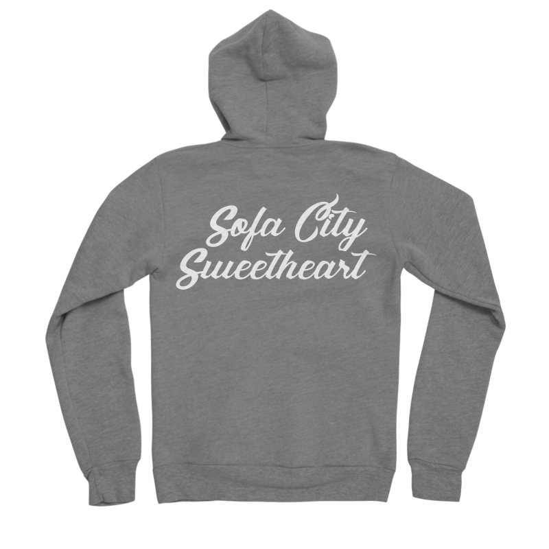 "Sofa City ""Summer Camp"" (White Font) Women's Sponge Fleece Zip-Up Hoody by Sofa City Sweetheart Discount Superstore"