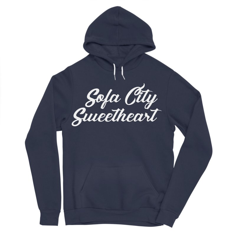 "Sofa City ""Summer Camp"" (White Font) in Men's Sponge Fleece Pullover Hoody Navy by Sofa City Sweetheart Discount Superstore"