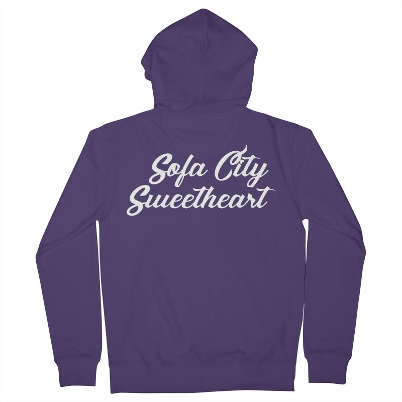 """Sofa City """"Summer Camp"""" (White Font) Women's French Terry Zip-Up Hoody by Sofa City Sweetheart Discount Superstore"""