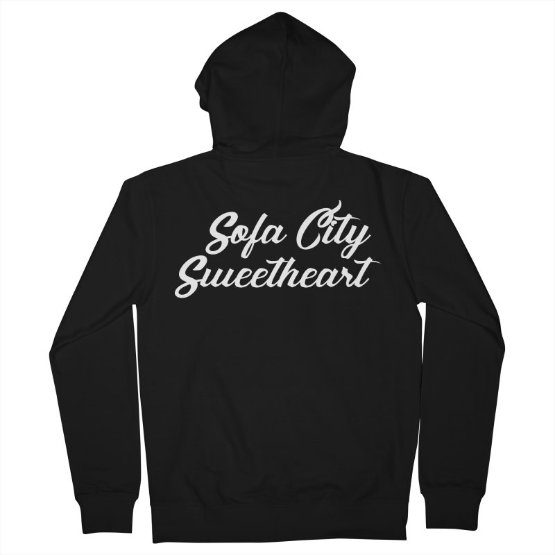 "Sofa City ""Summer Camp"" (White Font) Women's French Terry Zip-Up Hoody by Sofa City Sweetheart Discount Superstore"