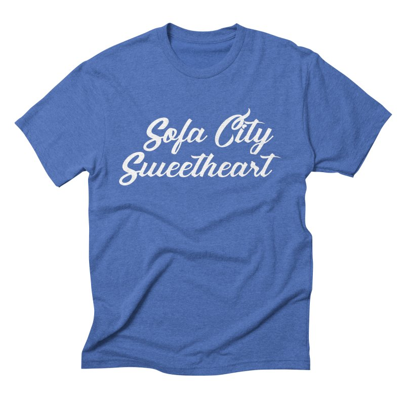 """Sofa City """"Summer Camp"""" (White Font) Men's Triblend T-Shirt by Sofa City Sweetheart Discount Superstore"""