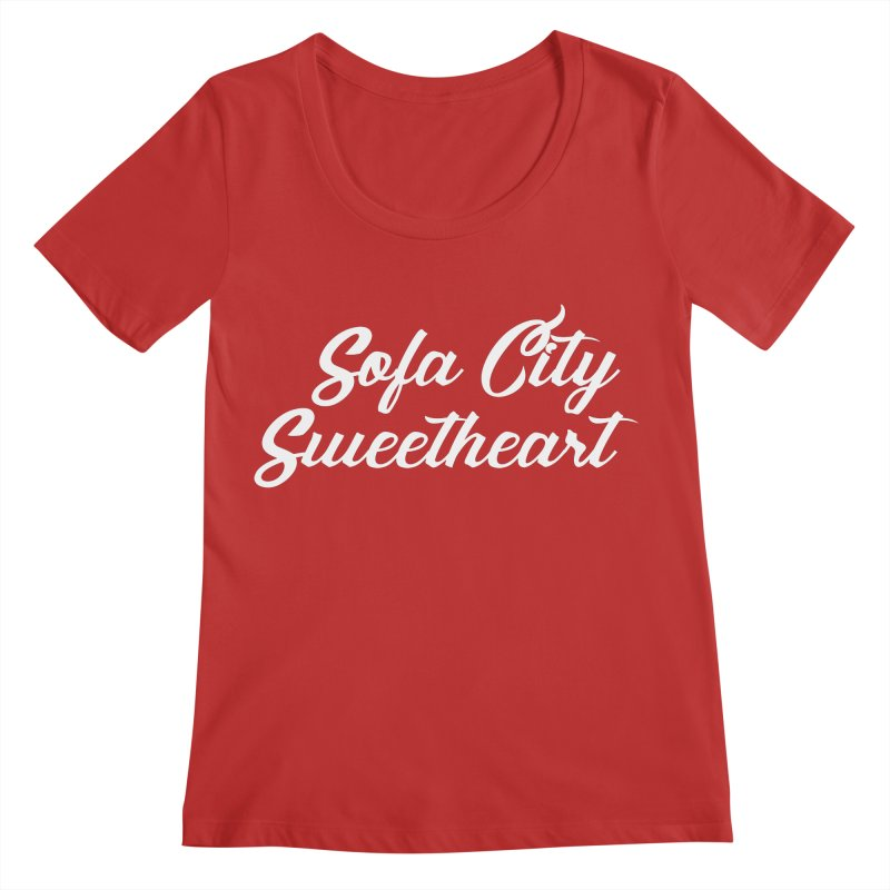 """Sofa City """"Summer Camp"""" (White Font) Women's Regular Scoop Neck by Sofa City Sweetheart Discount Superstore"""