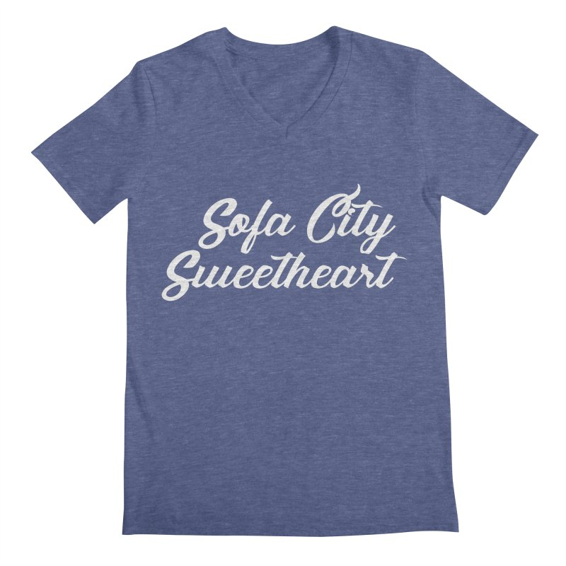 "Sofa City ""Summer Camp"" (White Font) Men's Regular V-Neck by Sofa City Sweetheart Discount Superstore"