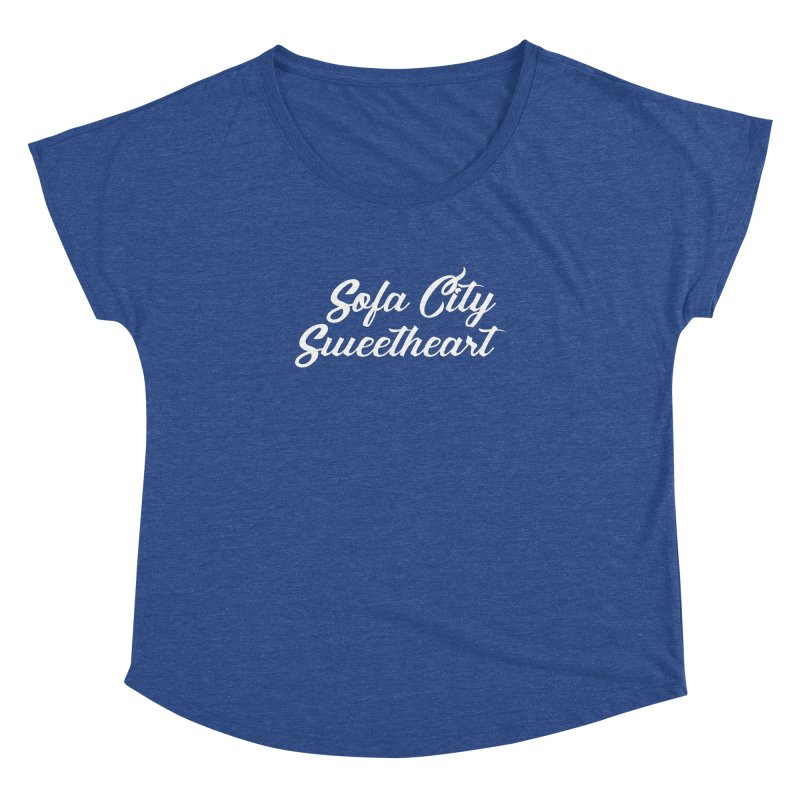 """Sofa City """"Summer Camp"""" (White Font) Women's Dolman Scoop Neck by Sofa City Sweetheart Discount Superstore"""