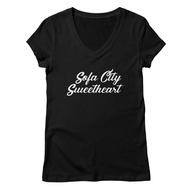 """Sofa City """"Summer Camp"""" (White Font) Women's V-Neck by Sofa City Sweetheart Discount Superstore"""