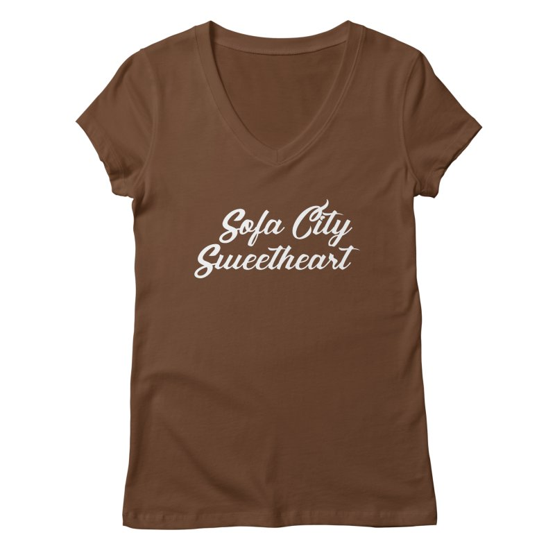 "Sofa City ""Summer Camp"" (White Font) Women's Regular V-Neck by Sofa City Sweetheart Discount Superstore"