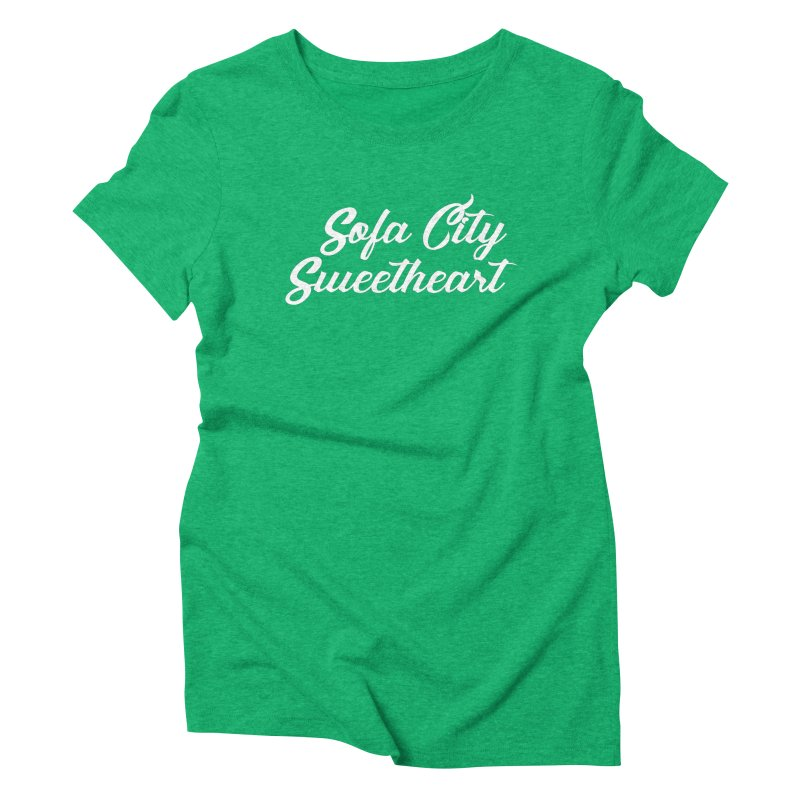 """Sofa City """"Summer Camp"""" (White Font) Women's Triblend T-Shirt by Sofa City Sweetheart Discount Superstore"""