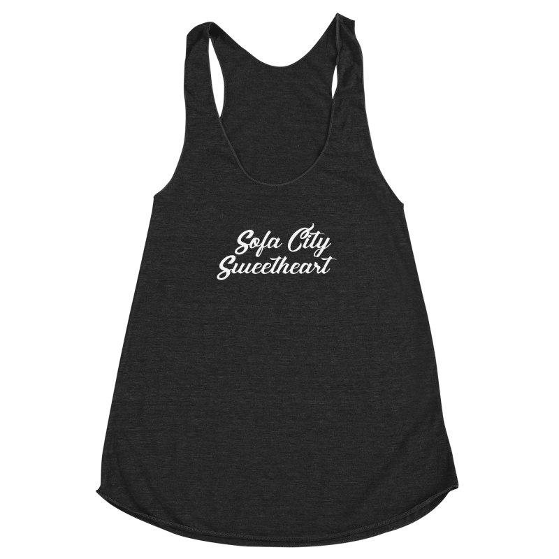 """Sofa City """"Summer Camp"""" (White Font) Women's Racerback Triblend Tank by Sofa City Sweetheart Discount Superstore"""