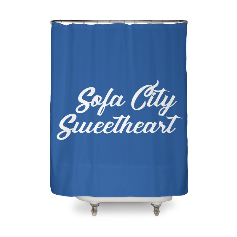 """Sofa City """"Summer Camp"""" (White Font) Home Shower Curtain by Sofa City Sweetheart Discount Superstore"""