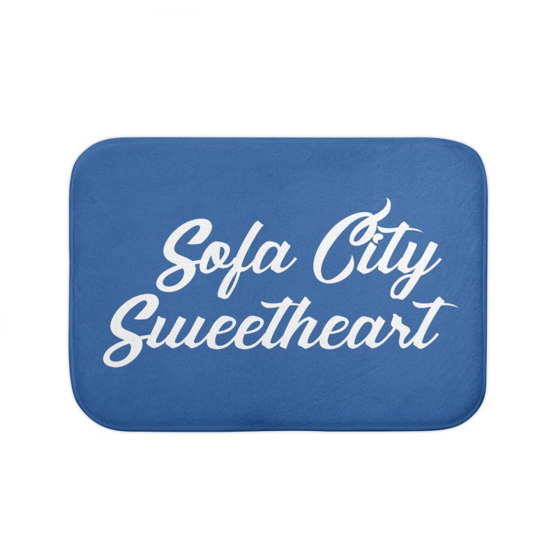 "Sofa City ""Summer Camp"" (White Font) Home Bath Mat by Sofa City Sweetheart Discount Superstore"